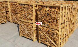 Kalodázott gyertyán tűzifa hasított, kalodában