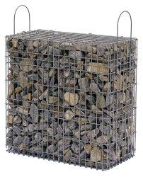 Kész gabion gyárilag feltöltve és tömöritve gneiss-törmelékből, stainzi szürke