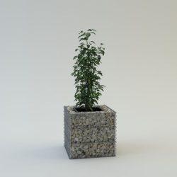 Szögletes virágbox talp és fedőháló nélkül 60x60cm alapterületű, 60cm magas virágtartó fémszerkezet (kő nélkül)