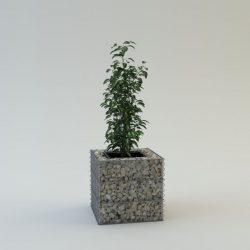 Szögletes virágbox talp és fedőháló nélkül 90x90cm alapterületű, 80cm magas virágtartó fémszerkezet (kő nélkül)