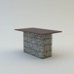 Kerti asztal, borovi fenyő asztallappal 80x75x140 6 személyes (kő nélkül)