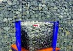 Gabion gépi tömörítés (rázóasztal) és zárás, kitelepülés és kő töltés nélkül