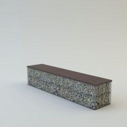 Pad, borovi fenyő ülőfelülettel 40x40x200 3 személyes pad (kő nélkül)