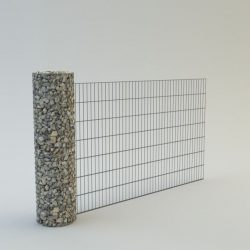 Gabion kerítés 150cm magas köroszloppal (átmérő 40cm), 140cm magas és 250cm hosszú kerítésmezővel.